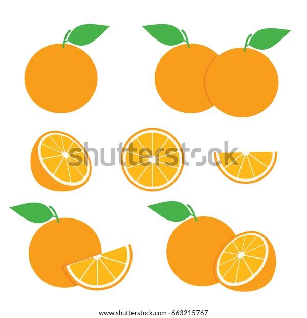 Orange Slice Vector Set Orange Illustration Stock Vector