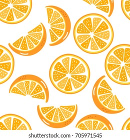 Orange sliced seamless pattern. Organic healthy fruit background.