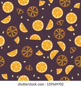 Orange slices on violet background. Citrus fruit seamless vector pattern.