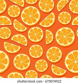 Orange slices seamless pattern. Citrus fruit background.