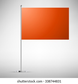 Orange small table flag on chrome rod vector illustration. Best to place a company logo or text.
