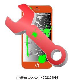 Orange smartphone repair service icon. Smartphone repair with wrench.