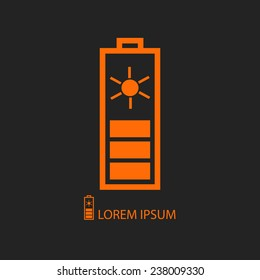 Orange solar battery  as logo with copyspace on black background