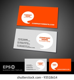 Orange speech bubble business card template with light textured front