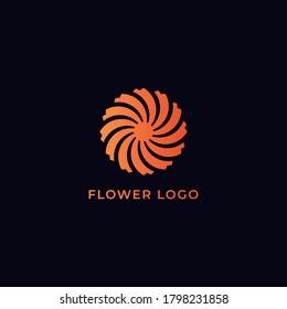 Orange spiral flower logo like a sun in dark blue background