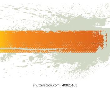 Orange splash banner. Vector.