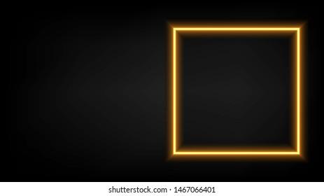 An orange square neon light frame on the black background. ( vector )