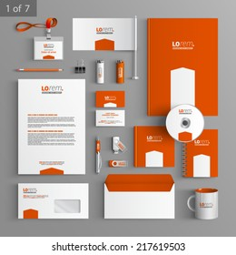 Orange stationery template design with white arrow. Documentation for business.
