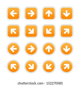 Orange sticker icon with arrow sign. Rounded square and circle buttons with gray shadow on white background. Vector illustration design element save in 10 eps