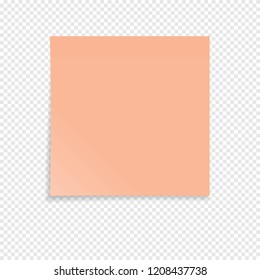 Orange sticky note isolated on a transparent background