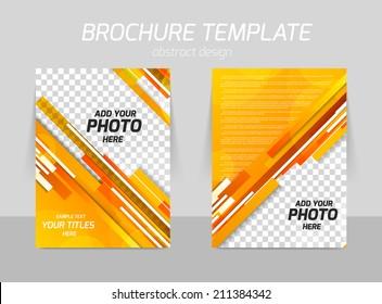 orange straight stripes back and front flyer template design