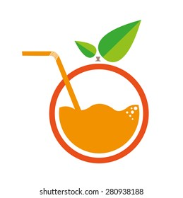 Orange with Straw Logo. Flat Minimalism Artwork