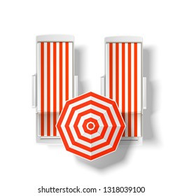 Orange striped sun umbrella near beach lounger top view. Seaside resort relaxation and suntanning elements. Summer holiday vacation. seashore pool hotel rest chair , sun protecting parasol. Vector