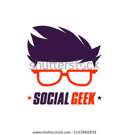 6ab1a53020b Orange Style Social Geek Logo Template Stock Vector (Royalty Free ...