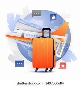 Orange suitcase and airplane over Globe. Vector illustration of global travel, bisiness travel, vacation or journey. Isolated on white background.