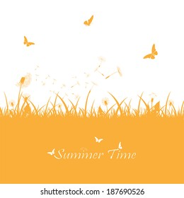 Orange summer background with dandelions and butterflies, illustration.