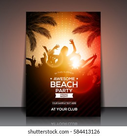 Orange Summer Beach Party Flyer Template - Vector Design
