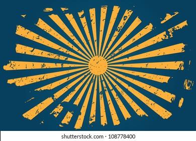 Orange Sun grunge illustration