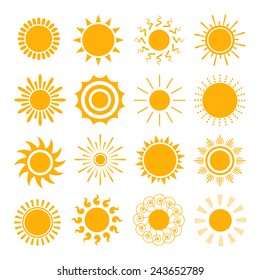 Orange Sun icons. The sun sets straight, florid and twisted rays on white background. Vector illustration