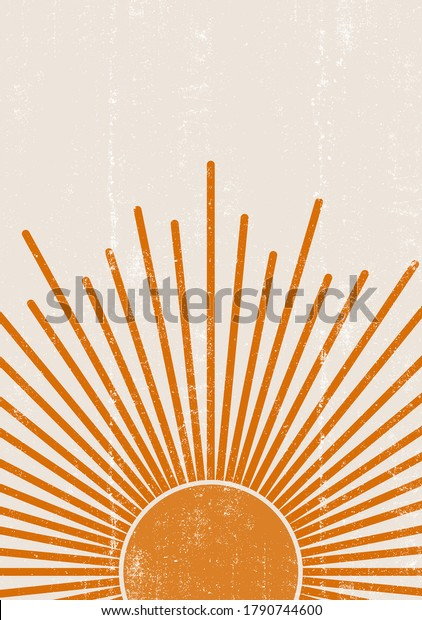 Orange Sun print boho minimalist printable wall art geometric abstract sunset print bohemian art work, vector
