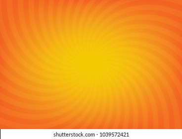 Orange sun rays vector, sunburst on orange color background. Vector illustration background design.