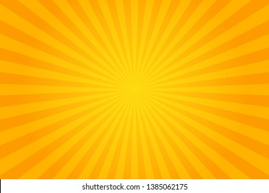 Orange Sunburst Pattern Background. Rays. Radial. Summer Banner. Vector Illustration