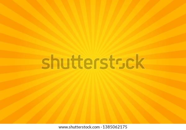 Orange Sunburst Pattern Background. Rays. Radial. Summer Banner. Vector Illustration