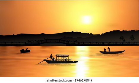 Orange sunset with silhouette of famous Balinese water temple Ulun Danu and fishing boats on Bratan lake, Bali, Indonesia. Realistic vector illustration background.