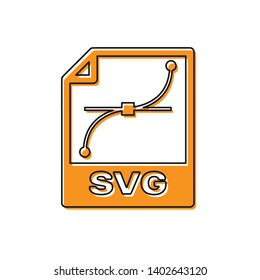 Orange SVG file document icon. Download svg button icon isolated on white background. SVG file symbol. Vector Illustration