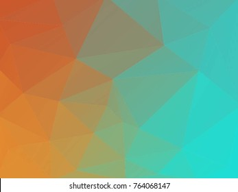 Orange and teal polygonal background. Polygonal template. Modern geometrical abstract background with gradien
