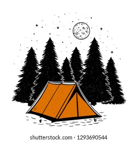 orange tent in the forest with moon and stars camping flat design isolated on white background
