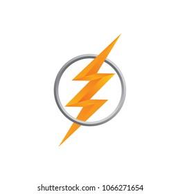 orange thunder bolt sign logo vector art