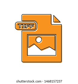 Orange TIFF file document. Download tiff button icon isolated on white background. TIFF file symbol.  Vector Illustration
