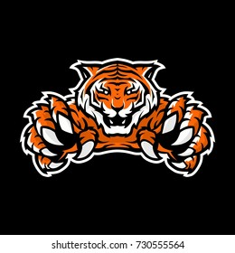 orange tiger sport gaming logo vector illustration template