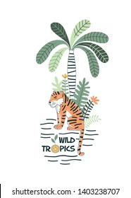 Orange tiger under stripy palm decorative typographic exotic tropical jungle illustration. Rainforest wildlife inspired drawing with Wild Tropics graphic lettering for summer kids t-shirt print design