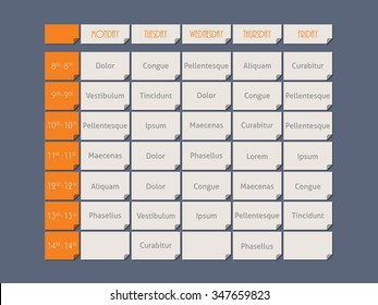 Orange timetable template design flat style with sample text
