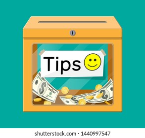 Orange tip box full of cash. Thanks for the service. Money for servicing. Good feedback or donation. Gratuity concept. Vector illustration in flat style