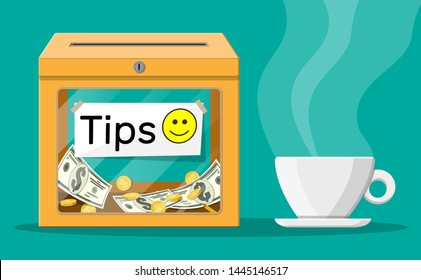 Orange tip box full of cash and cup of coffee. Thanks for the service. Money for servicing. Good feedback or donation. Gratuity concept. Vector illustration in flat style