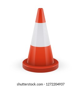 Orange traffic cone with round base. Classic safety orange color. Road cone with one white stripe. Element of road safety and prevention of accidents during road construction.