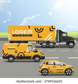 Orange Transport Werbung Design mit geometrischen Mustern. Vorlagen für LKW, Bus und Pkw. Unternehmensidentität