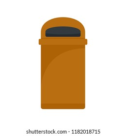 Orange trash box icon. Flat illustration of orange trash box vector icon for web design