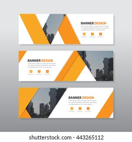 Orange triangle abstract corporate business banner template, horizontal advertising business banner layout template flat design set , clean abstract cover header background for website design,
