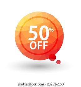 Orange triangular price vector bookmark 50 percent sale off. isolated