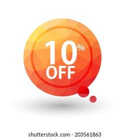 Orange triangular price vector bookmark 10 percent sale off. isolated