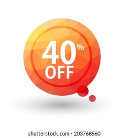 Orange triangular price vector bookmark 40 percent sale off. isolated