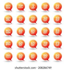 Orange Triangular Sale Labels Set, Eps10 Vector