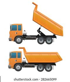 Orange Truck dump for construction