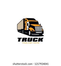 Orange Truck Logo For Transportation Company