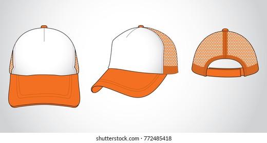 Orange trucker net baseball cap  (Orange/White)
