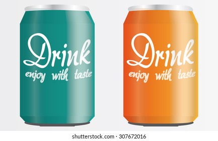 Orange and Turquoise Drink Cans